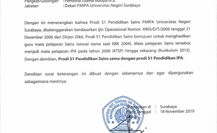 Surat Keterangan Prodi S1 Sains sama dengan S1 Prodi IPA